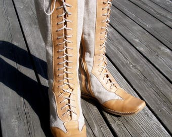 size 8 boots, knee high boots, womens linen boots, leather boots, vintage boots, leather shoes, spring summer fashion boots