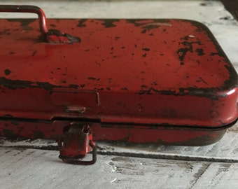 vintage red toolbox, food photography prop, food styling prop
