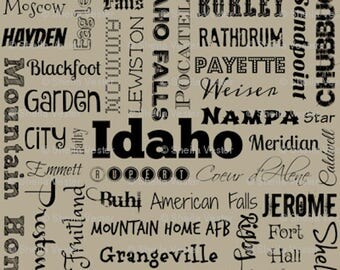 Idaho Cities fabric yardage - ID typography fabric by the yard - yellow or gray/taupe