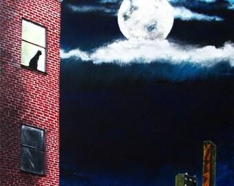 Original art, cat in window, film noir cityscape, acrylic on canvas, 16x20, moon, brick building, clouds, Lunar Magnetism