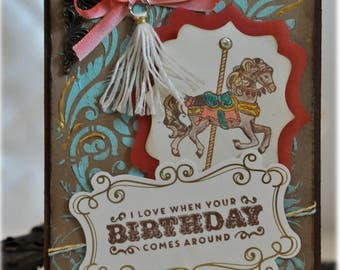 Birthday card birthday card / carousel / merry-go-around / congratulations / congratulation / with cover / Circus / Circus