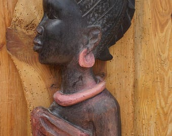 Relief Africa woman, African figure, Ghana, Africa mask