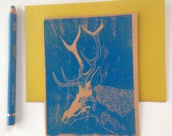 Lino printed card, deer