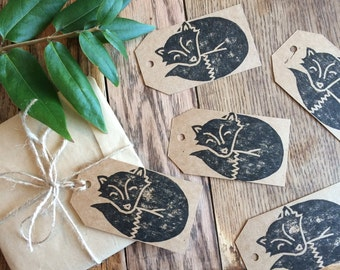 Fox gift tags (pack of 5) - handmade and hand printed