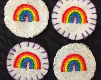 Rainbow Circular Hand Embroidered Patch