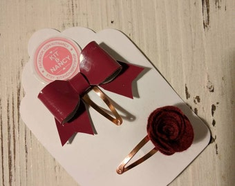 Felt Rose & Gloss Bow Hair Clips // Snap Hair Clips // Burgundy Wine Hair Slides // Flower Hair Clip // Baby Hair Clip // Rose Gold Clip //