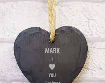 FREE P&P anniversary gift, small love heart hanger
