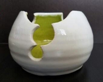 White and Green Candle Bowl