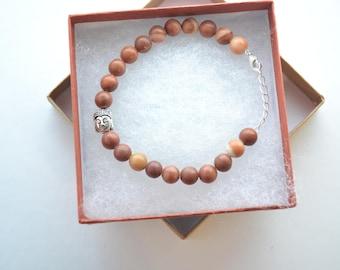 8mm Silver Buddha Energy Beaded Gemstone Bracelet