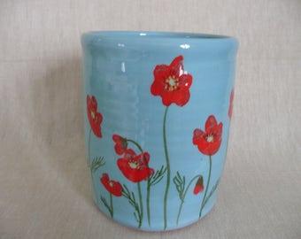 Utensil jar. Wine cooler. Pottery utensil pot.