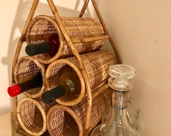 Vintage bamboo wine rack  * price reduced
