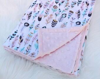 Minky blanket, feathered minky blanket, baby pink minky blanket, baby blanket, stroller blanket, feather print blanket, girl blanke