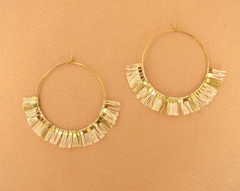 Earrings hoops Sabrina, Golden end 24 k