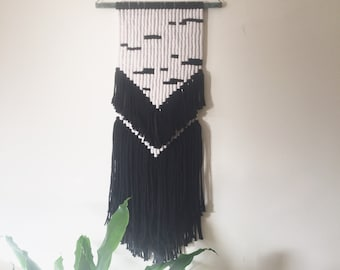 Industrial Geometric Wall Hanging with Black Fringe