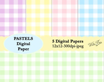 INSTANT DOWNLOAD – 5 Pastel pattern digital papers. 12x12 scrapbooking paper. Great for craft projects, cards, invites and much more