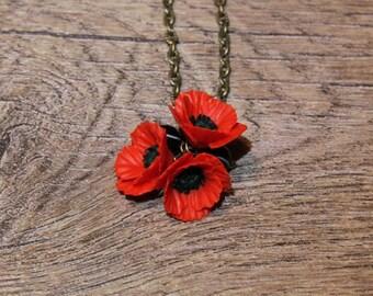 Red Poppy pendant, Poppy Jewelry, Red Flower pendant, Red pendant, Floral Jewelry, Gift For Women, Handmade floral jewelry, Poppy necklace