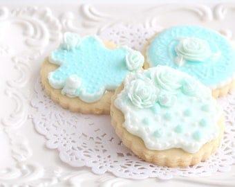 Freshly Baked Cookies With Milk Glass Design, Set of Six, Baby Boy Bridal Shower Gift Inspiration, Wedding Cookies, Set of Twelve