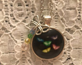 Rainbow Butterfly Glass Pendant Charm Necklace/Butterfly Necklace/Butterfly Pendant/Butterfly Jewelry
