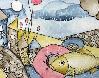 """Original watercolor """"Sous la pluie"""""""