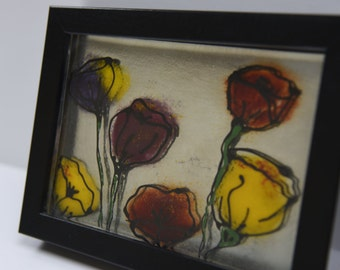 Fused Glass Poppy Flowers Picture