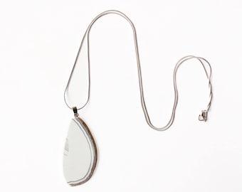 White Stone Charm Necklace