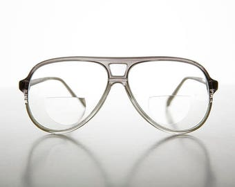 Diopter 1.25 Retro Bifocal Aviator Magnifying Vintage Reading Glasses Clear/Gray - Indie