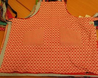 Kitchen apron, cotton, 70s vintage print-red/white