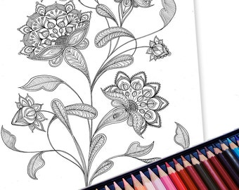 Anti-anxiety adult colouring pages, Grown-ups coloring, printable pdf