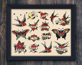 Mothers Day Printable Home Decor, Gift for Mom, Birds, Hearts & Butterflies, Authentic Sailor Jerry Large Tattoo PRINTABLE Wall Art (#7769b)
