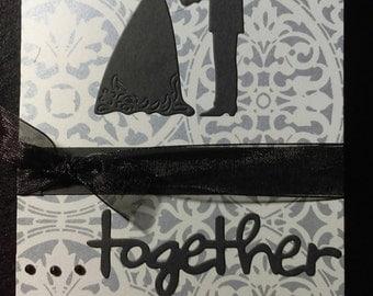 "Handmade ""Together"" blank wedding card with envelope"