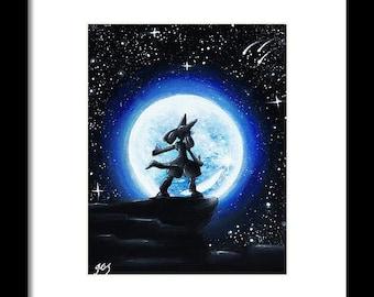 Digital Print)Lucario under the moon