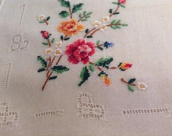 Vintage  Handkerchief  / Petitpoint and Openwork