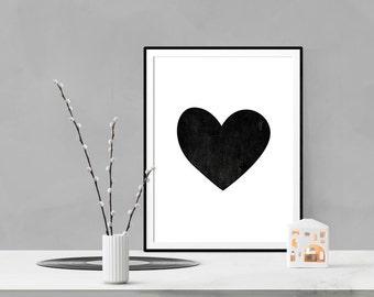 Black and white heart printable, home decor, modern nursery print, love sign, love wall art, love art, minimalist heart digital download