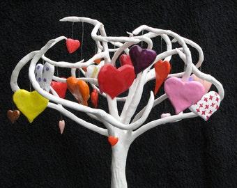 tree sculpture,paper mache art, paper mache tree, love tree, heart tree, nature