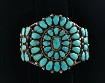 Vintage 1960s Zuni Native American cluster bracelet, natural turquoise