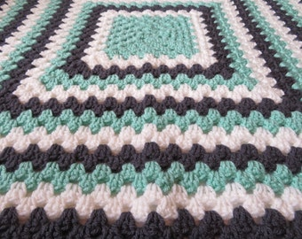 AquaGrayWhite*Crocheted*BabyBlanket