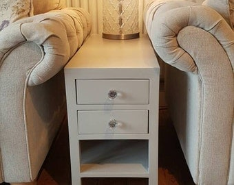 Handmade bespoke Lisbon style sofa table long bedside nightstand 2 drawers 1 shelf white cream grey Height 65cm Width 25cm Depth 80cm