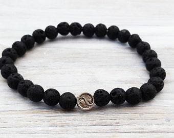 YIN YANG Bracelet Gifts For Him Black Lava Bracelet Mens Gifts Mens Yin Yang Bracelet Minimalist Men Bracelet