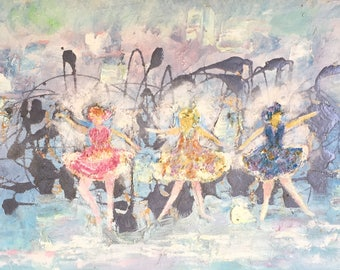 SOLD. Abstract ballet  painting on canvas by Dawn Eileen, modern abstract Ballernia, tiny dancers, ballet painting