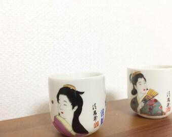 Nihonga, Japanese-style paintings sake cup set of 2 vintage 1980's
