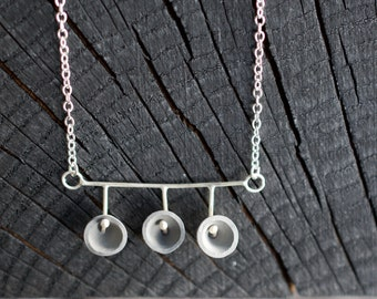 Charcoal and White Porcelain Drop Necklace