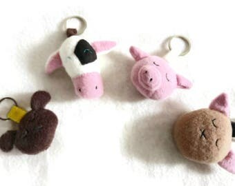 Cute animal keyrings - farm, pets keychain small gift
