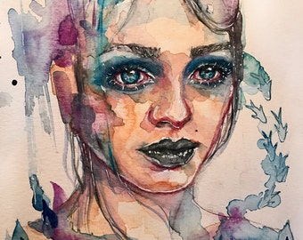 ORIGINAL watercolor surreal water girl painting | magical underwater fishes aquarius woman potrait Artwork