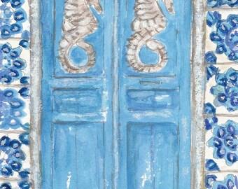 Greece Seahorse Door, Travel Art