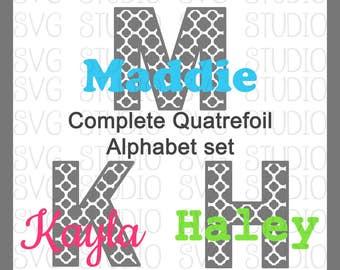 Quatrefoil Alphabet Set, SVG Letters, SVG Fonts , svg File, dxf File, Cricut Cut File, Silhoutte Cut File