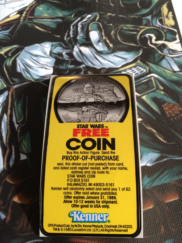 Star Wars Vintage Custom Repro Die Cut Boba Fett Free Coin - Star wars custom die cut stickers