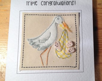 Triplet card. Newborn triplets card. Triplet congratulations card. Unique hand made triplet card