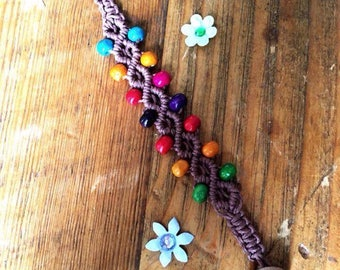 Brown Hemp Bracelet with Painted Wooden Beads