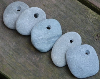 Unique Beach Stone Pebbles, 5 Pieces with a drilled hole
