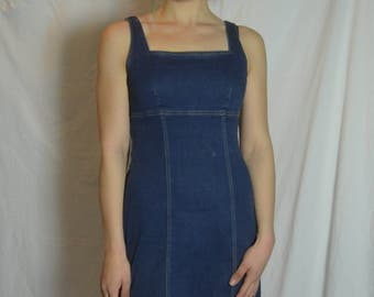 Vintage Womens Denim Short Jumper - Sleeveless Short Dress - Size 9 / 10